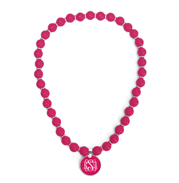 Beaded Monogram Necklace - Peony
