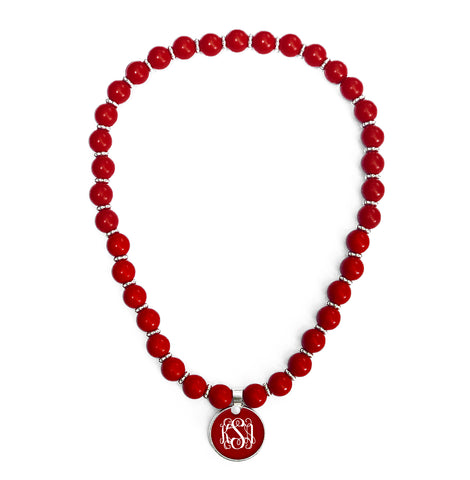 Beaded Monogram Necklace - Ruby