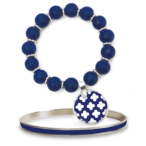 Signature Petal Navy Beaded Bracelet Set