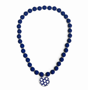 Signature Petal Navy Beaded Necklace