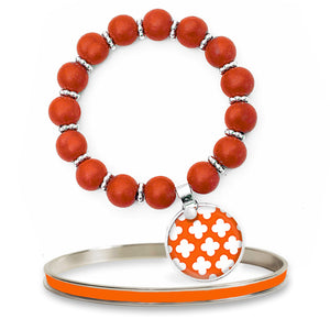 Signature Petal Orange Beaded Bracelet Set