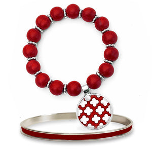 Signature Petal Red Beaded Bracelet Set