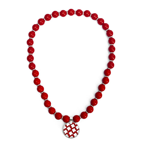 Signature Petal Red Beaded Necklace