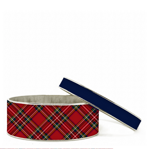 Tartan Red Plaid Bangle Bracelet Set