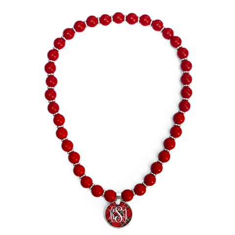 Tartan Red Plaid Monogram Beaded Necklace