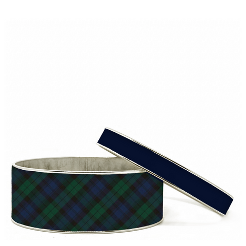 Tartan Blue Plaid Bangle Bracelet Set