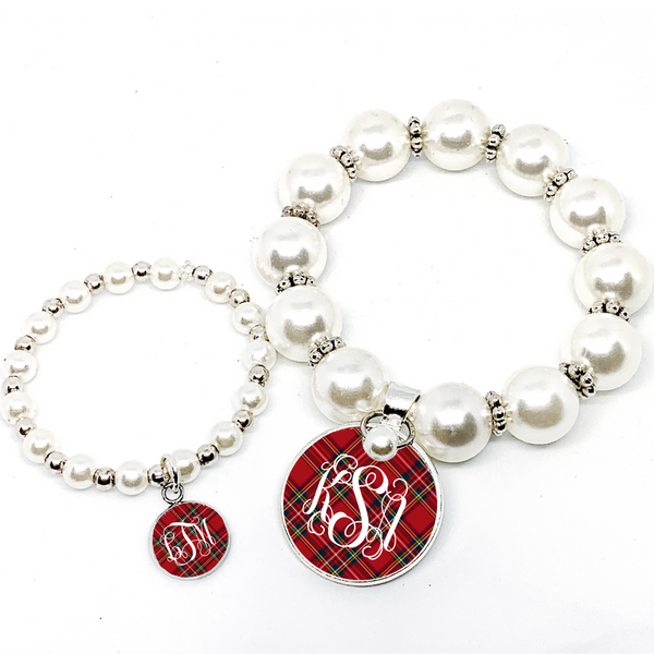 Mommy and Me Tartan Red Plaid Monogram Pearl Bracelet