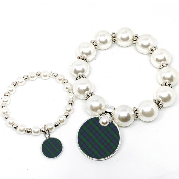 Mommy and Me Tartan Blue Plaid Monogram Pearl Bracelet
