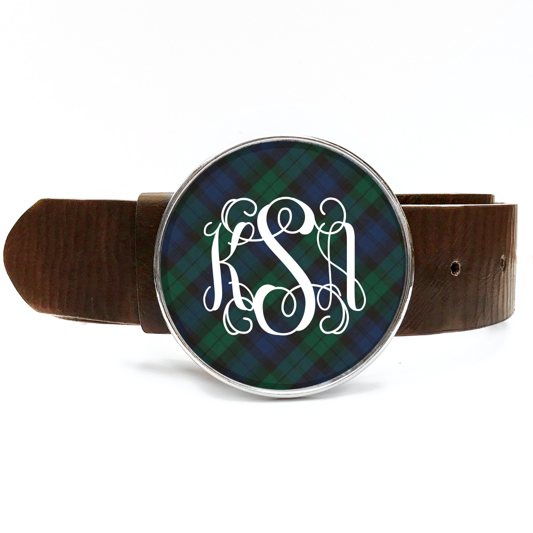 Tartan Blue Plaid Monogram Belt Buckle