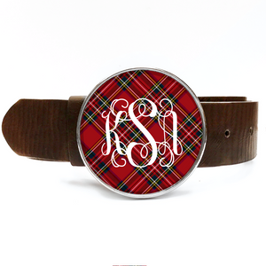 Tartan Red Plaid Monogram Belt Buckle