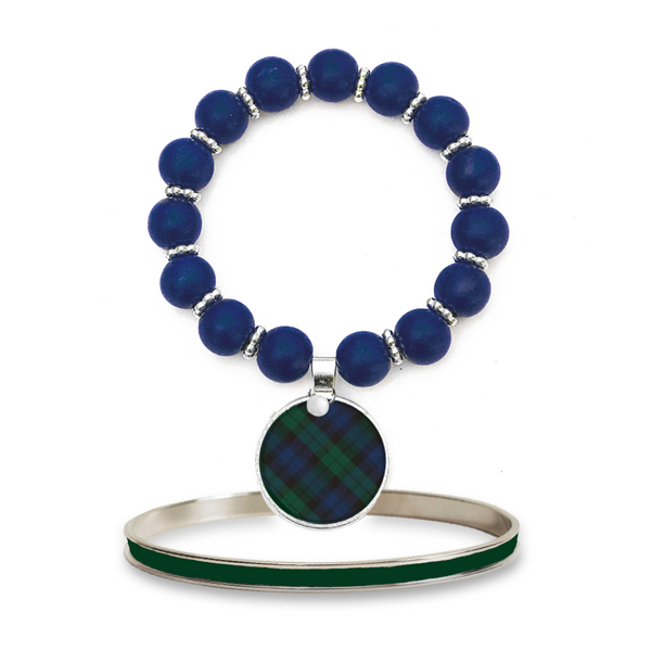 Tartan Blue Plaid Monogram Beaded Bracelet Set
