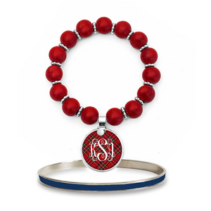 Tartan Red Plaid Monogram Beaded Bracelet Set