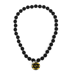 Game Day Beaded Monogram Necklace |  Black & Gold