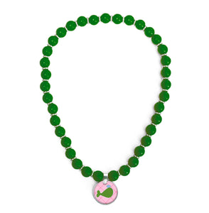 Whales Tales Green Beaded Necklace