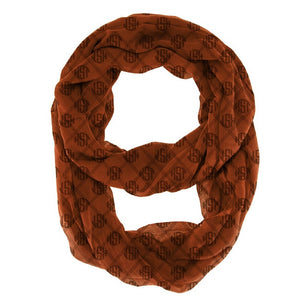 Monogram Infinity Scarf -Chocolate