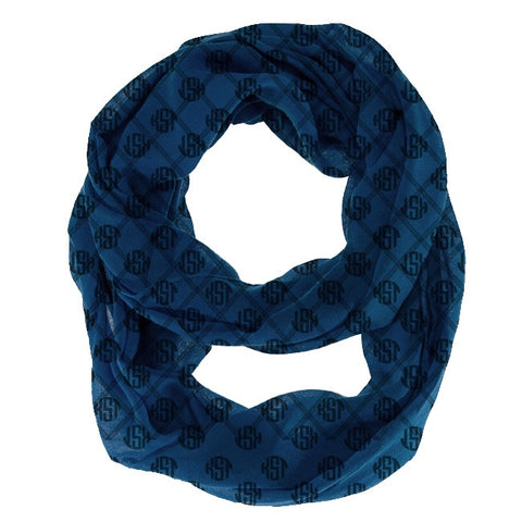 Monogram Infinity Scarf - Midnight Blue