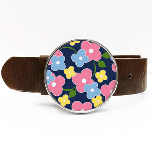 Flower Power Blue Belt Buckle