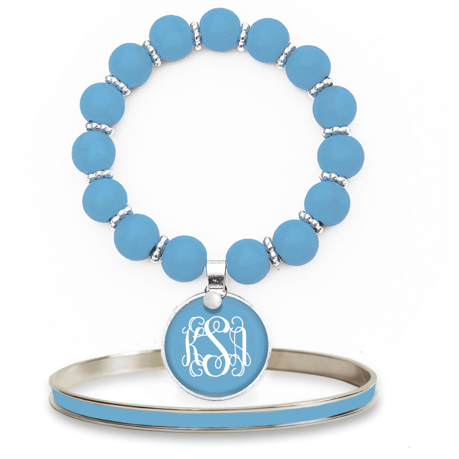 Beaded Monogram Bracelet - Blue Sky
