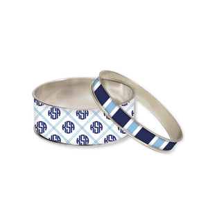 Caroline Blue Monogram Bangle Bracelet Set