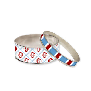 Newport Blue Monogram Bangle Bracelet Set