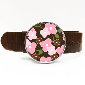 Flower Power Brown Belt Buckle