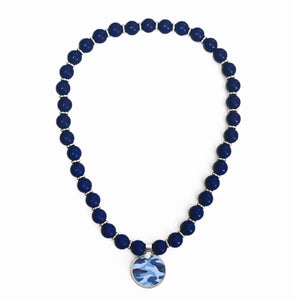 Camo Blue Beaded Necklace