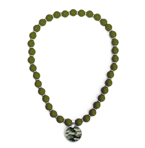 Camo Green Beaded Necklace
