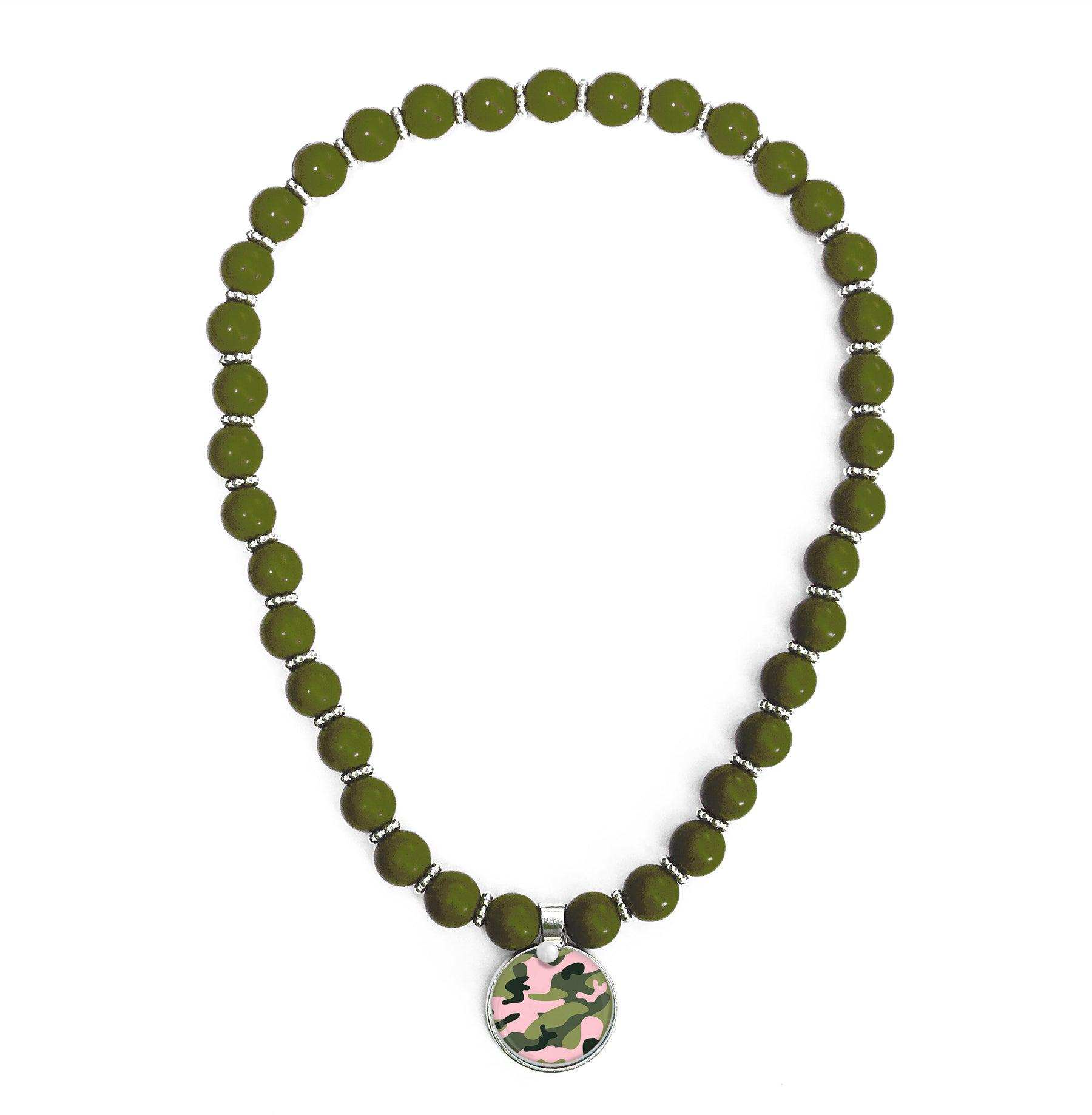 Camo Pink Beaded Necklace