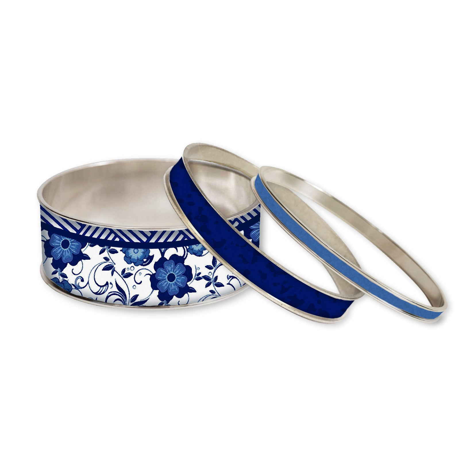 Blue Chinoiserie Stackable Bangle Set