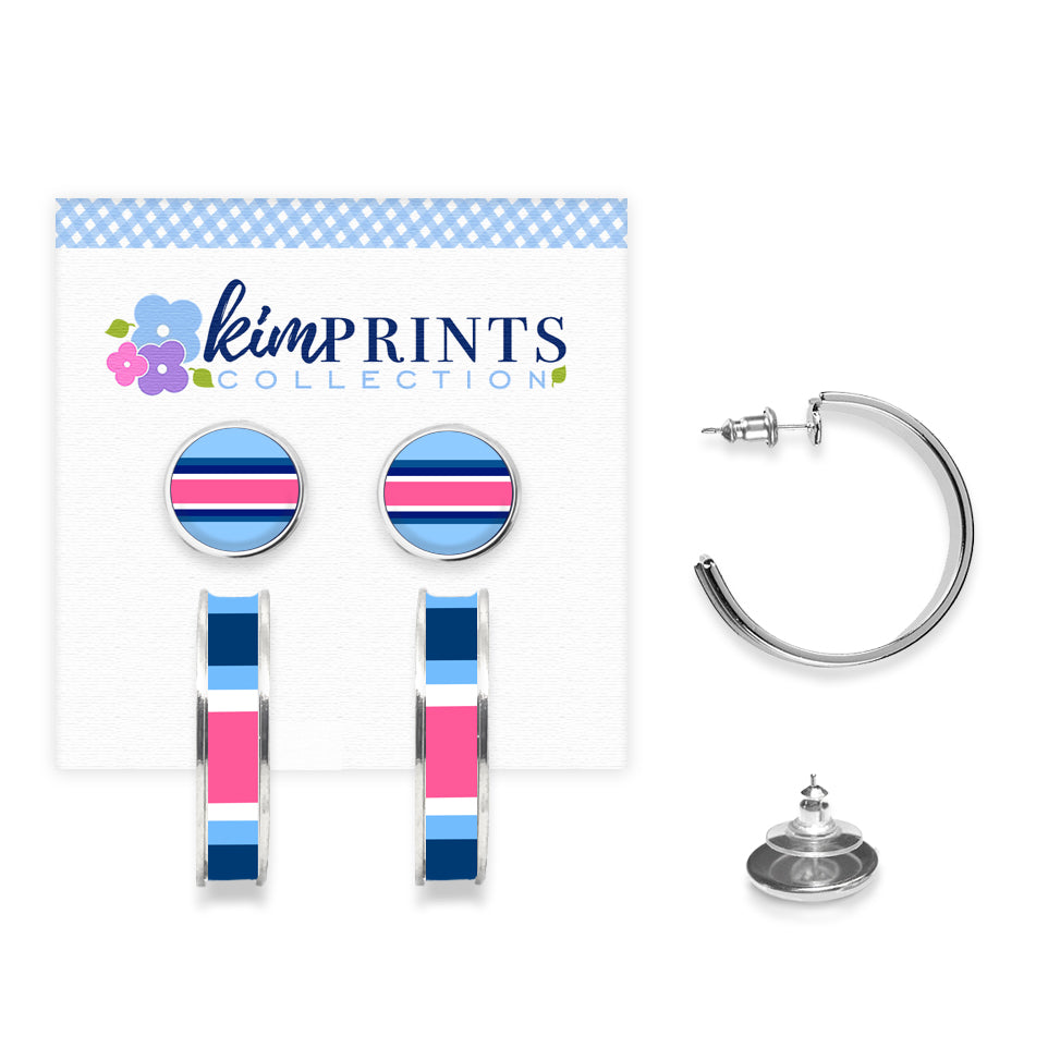 Classic Prep Stripe Navy Earring Set