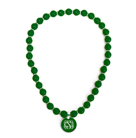 Beaded Monogram Necklace - Emerald