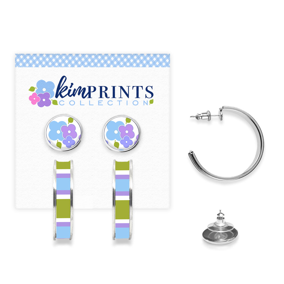 Signature Floral Blue Earring Set