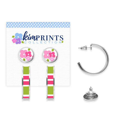 Signature Floral Pink Earring Set