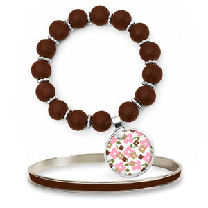 Signature Floral Brown Beaded Bracelet Set