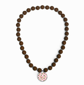 Signature Floral Brown Beaded Necklace
