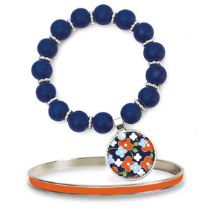 Signature Floral Navy Beaded Bracelet Set