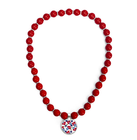 Signature Floral Red Beaded Necklace