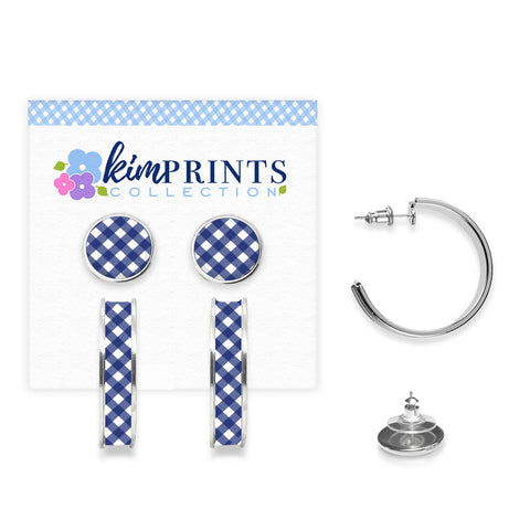 Gingham Style Navy Earring Set