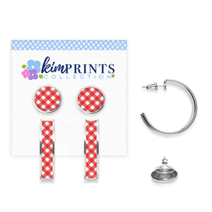 Gingham Style Red Earring Set