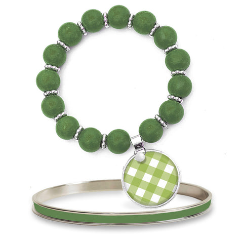 Gingham Green Beaded Bracelet Set