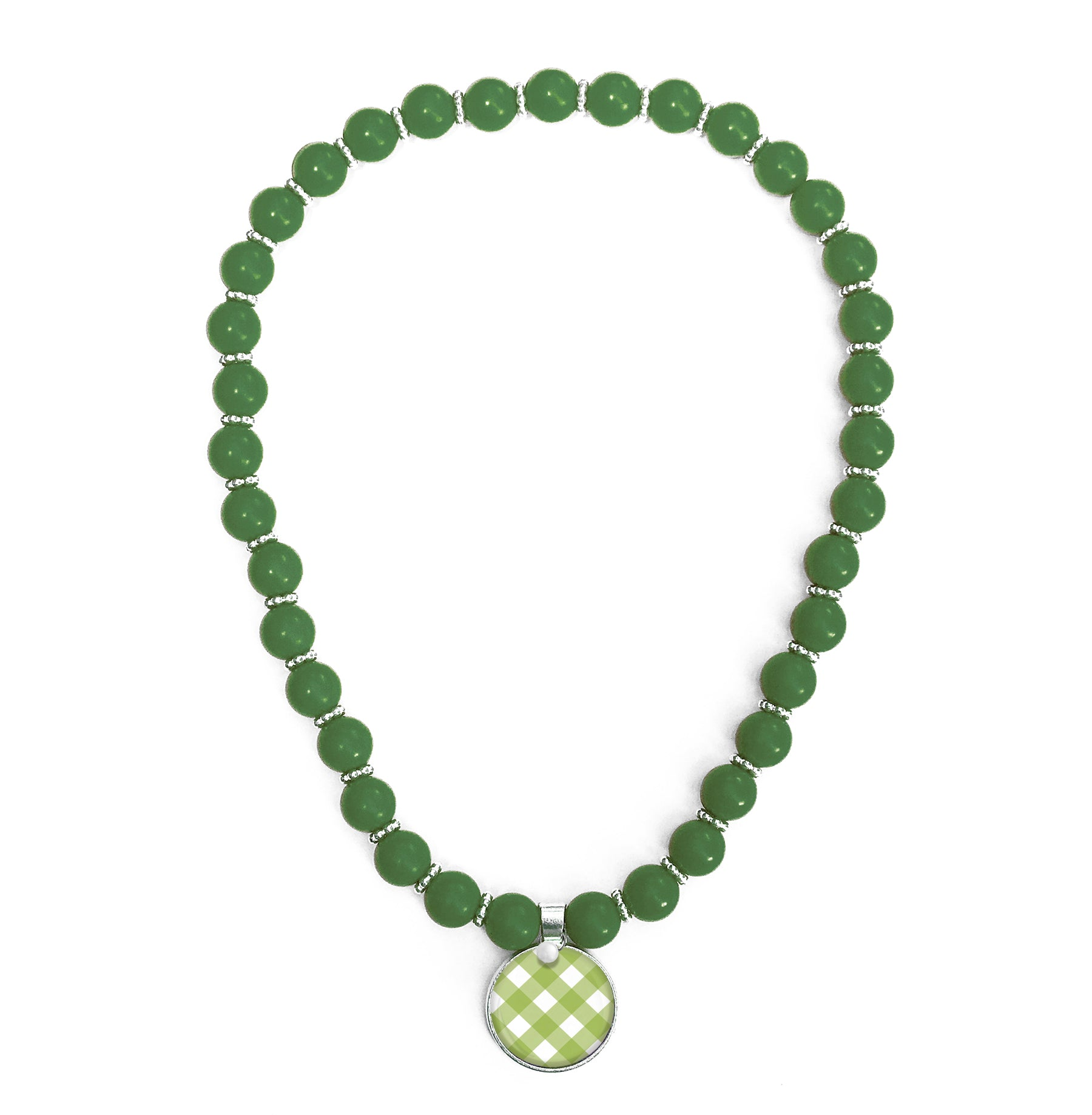 Gingham Green Beaded Necklace