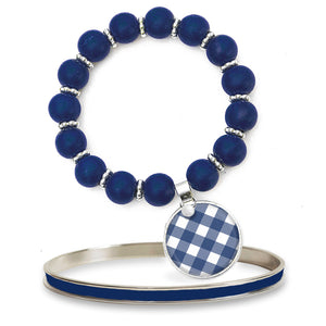 Gingham Navy Beaded Bracelet Set
