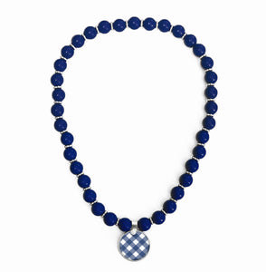 Gingham Navy Beaded Necklace
