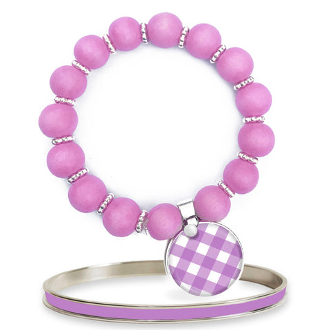 Gingham Amethyst Beaded Bracelet Set