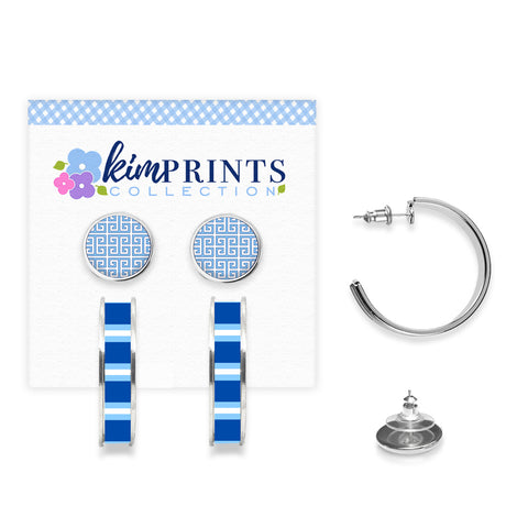 Greek Key Blue Earring Set