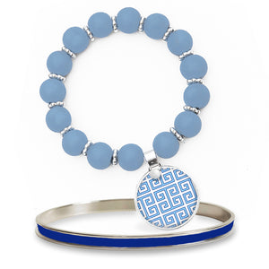Greek Key Blue Beaded Bracelet Set