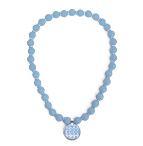 Greek Key Blue Beaded Necklace