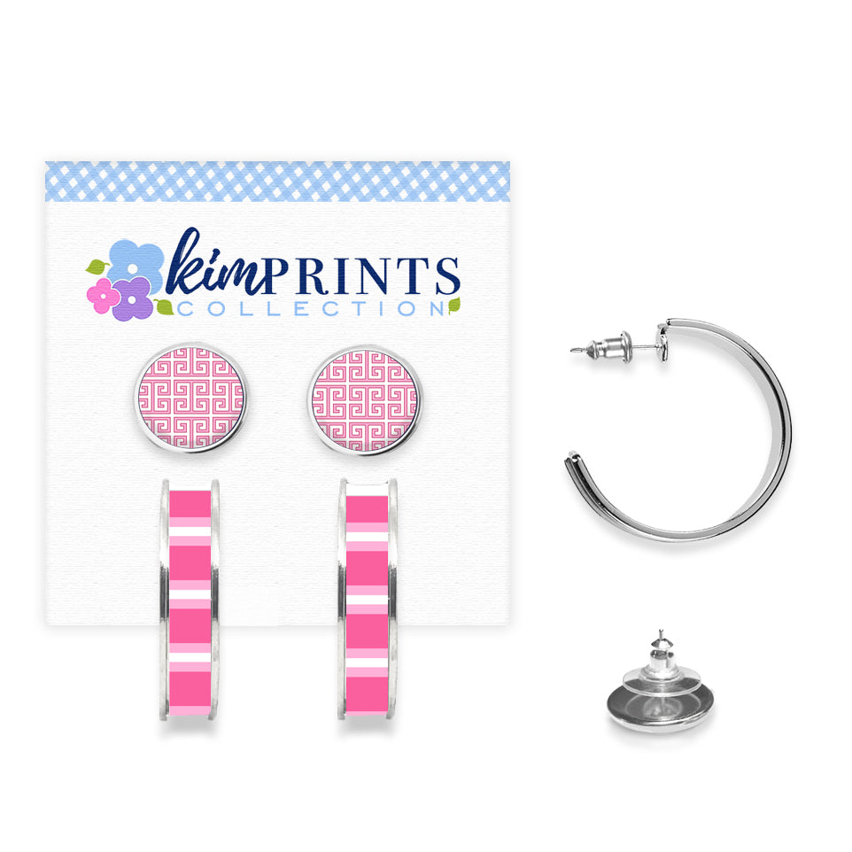 Greek Key Pink Earring Set