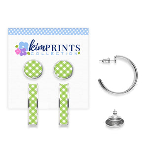 Gingham Style Green Earring Set