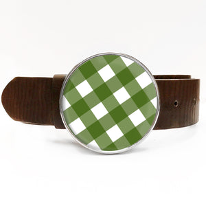 Green Gingham Belt Buckle